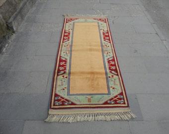 Vintage hallway runner rug,kitchen rug,79 x 34 inches