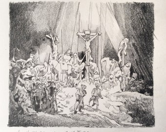 Rembrandt, 'the three crosses'. Drawing (not a print)