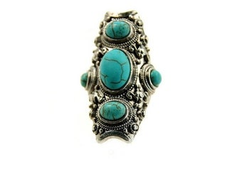 Tibetan silver ring with turquoise.