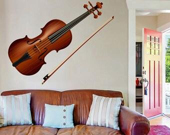 kcik524 Full Color Wall decal violin music interument living room bedroom