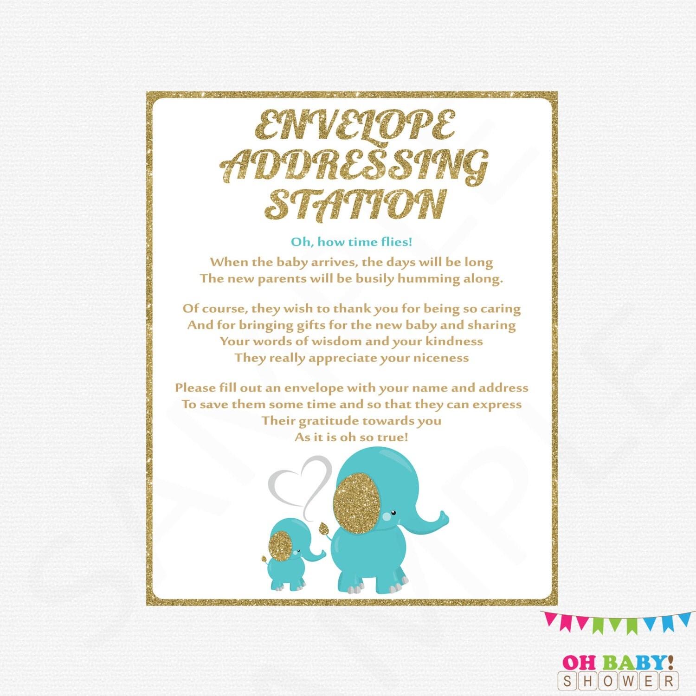 elephant baby shower envelope addressing station sign teal