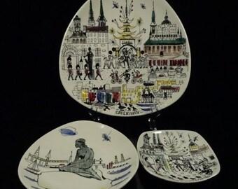 Inger Waage Design Scandinavian Porcelain Plates w Copenhagen Scenes (3 Pieces)