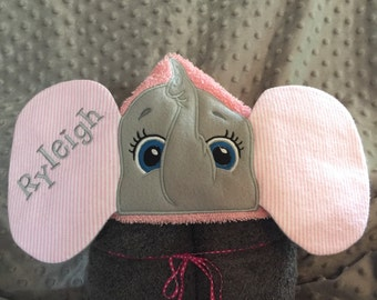 Hooded Towel Pink Elephant Personalized
