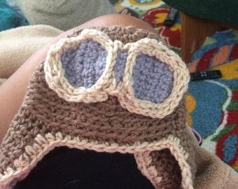Aviator baby crocheted hat