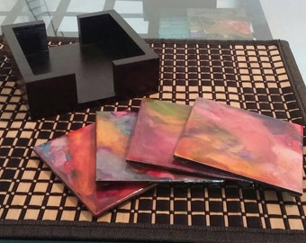 Abstract Multi-coloured Melted Crayon Coasters