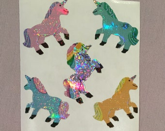 Prismatic Sandylion Unicorn Stickers.  3 SQUARES