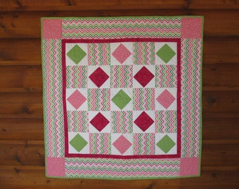 Baby Quilt, Baby Girl, Handmade, Patchwork Quilt, Pink and Green, Chevrons, Free Shipping, Lime, Raspberry, Modern, Baby Blanket