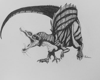 "Spinosaurus dinosaur realistic ORIGINAL drawing in graphite pencil on bristol smooth paper 16"" x 12"""