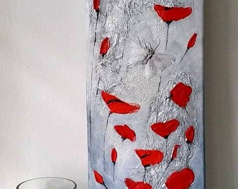 Poppies In The Ice, Acrylic & Oil Poppies Painting on Stretched Canvas Unframed PALETTE KNIFE original heavy texture, by Cinzia Mancini Art