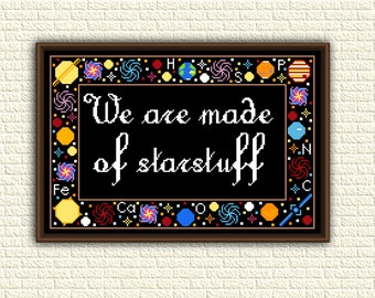 Astronomy - Cross Stitch Pattern pdf - We are made of starstuff - Carl Sagan - Inspiring quote - Space - Galaxy - Universe - Geeky - KbK-020