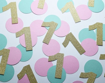 First Birthday Confetti, birthday confetti numbers, first birthday decoration, baby girl party, 1st birthday party decoration, party decor