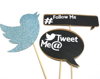 Photo Booth Props -  3PC Twitter Tweet Me Chalkboard Sign Photo Booth Props
