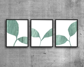 Plant Prints, Set of 3 Prints, Triptych, Scandinavian Art, Minimalist Art, Botanical Art Print, Giclee Print Set, Green Leaf Art, Wall Decor