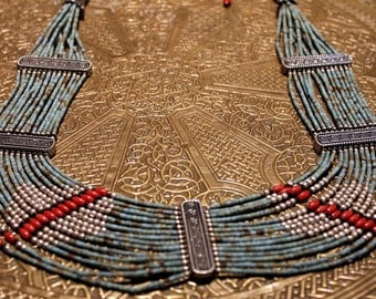 Konyak*** Authenic Vintage  Naga Turquoise Necklace