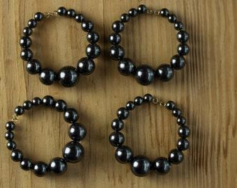 4 Vintage Pearl Hoops