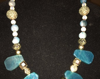 Turquoise and gold cleopatra stone statement necklace