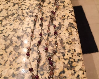 Handmade double stranded beaded necklace