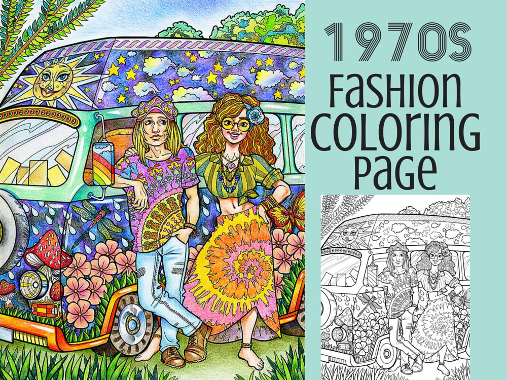 Adult coloring page 1970s hippie fashion coloring printable for Hippie coloring book pages