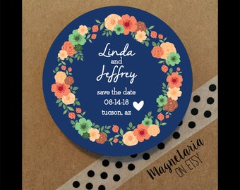 Floral Wreath Save the Date Magnets, 2.25 inches round