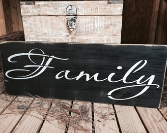 "Large Rustic Wood Sign - ""Family""  Primitive - Farmhouse Style - Wooden Sign"