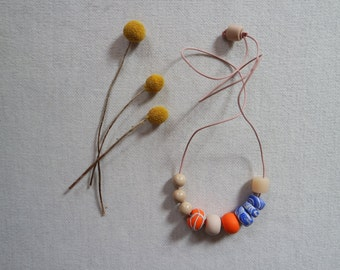 Handmade Polymer Clay and Ceramic Bead Necklace Neon Orange Marble