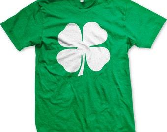 White Four Leaf Clover, St. Patrick's Day, Shamrock, Lucky Irish Men's T-shirt, NOFO_00115
