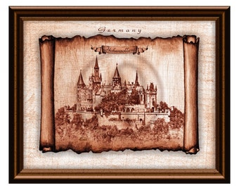 Castle Hohenzollern Art Print,Castle Germany,Castle Art,Castle Wall Art,Drawing,Instant Download,Home Decor,Gift,Castle Printable,Castles