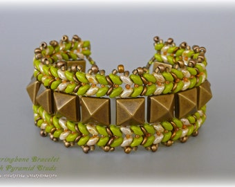 PDF Tutorial Herringbone Bracelet with Pyramid Studs and Superduos Beads by TheHeartBeading - beading pattern PDF file