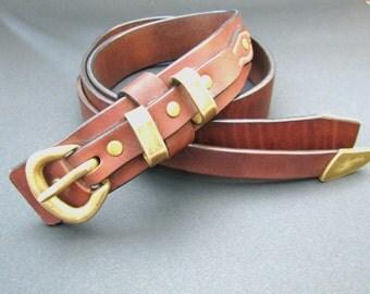 Dark brown leather belt - Natural cow leather belt - Bronze buckle - Bronze rivets - Women's blet - Men's belt