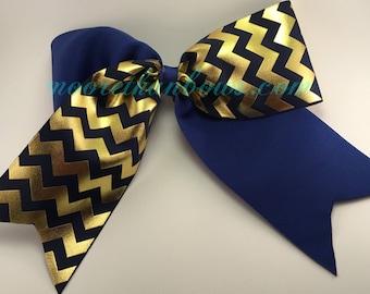 Navy Blue & Gold Metalic - Chevron Cheerleader Bow