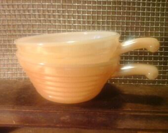 FireKing Peach Lustreware Soup Bowls, Deco Beehive