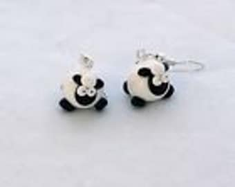 Sheep drop earrings handmade a farmer Spring lamb clay nickel free