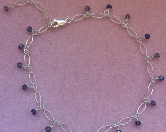 Full Iolite and Sterling Silver Anklet