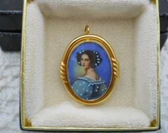 Vintage 14 Kt Gold Hand Painted Cameo Pin Pendant #572