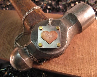 Copper heart pendant - hammered - industrial - brass - stainless