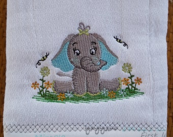 Elephant burp cloth comes in blue or pink- elephant burp cloth- baby shower gift
