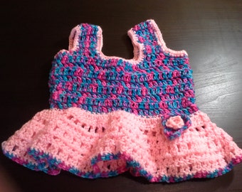 Crochet Toddler Dress with Flower Accent