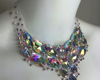Glass bead and Swarovski Crystal statement bib necklace