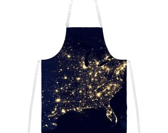 Outer Space Earth at Night Apron