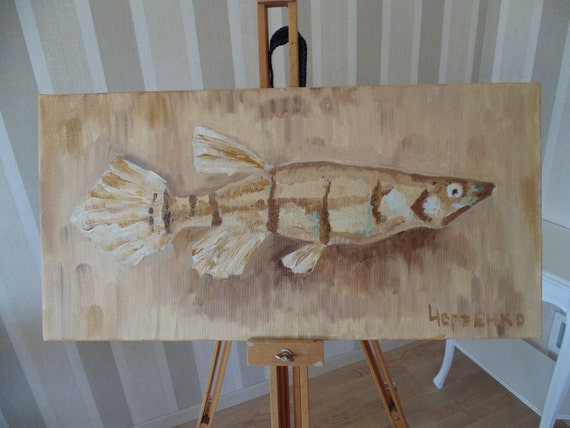 Original art Unique paintings Oil painting Artwork for home and office fish beige  painting  Modern painting painted on canvas oil