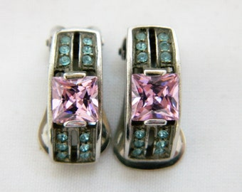 Vintage Art Deco Style Rhinestone Clip On Earrings Pink Blue Silver Tone 1/2""