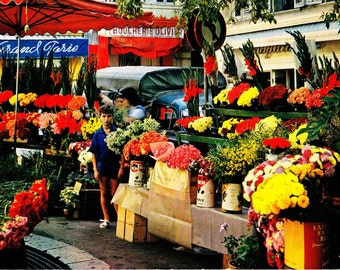 Vintage 1960s Color Photo Postcard Cote d'Azur French Riviera Flower Market