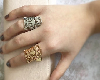 Tiger woman Silver Gold fashion ring