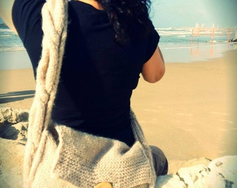 "Designer hand knitted ""Dreams of Love"" handmade crossbody shoulder hobo tote bag, handbag, handmade bag,"