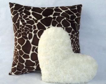 Decorative Pillow Set 16x16 in. Faux Fur Golden Giraffe and 11x13 in. Faux Fur Heart Simply Vanilla