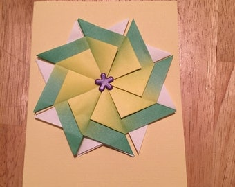 paper folded pinwheel card