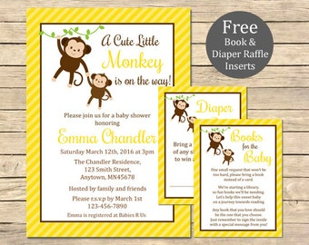 Yellow Monkey Baby Shower Printable Invitation, Book Insert & Diaper Insert, Monkey Baby Shower Invite Package, Neutral, Download, 006-Y