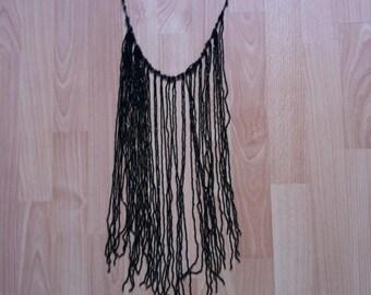 Long black tassle fringe necklace