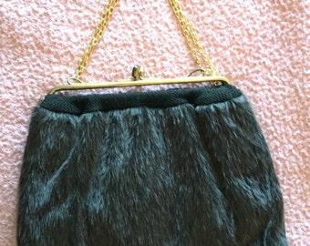 Vtg 60s/70s Black Faux Fur Purse with Goldtone Metal Chain Handle & Metal Top