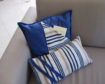 "Set of two cushions "" white-blue"""